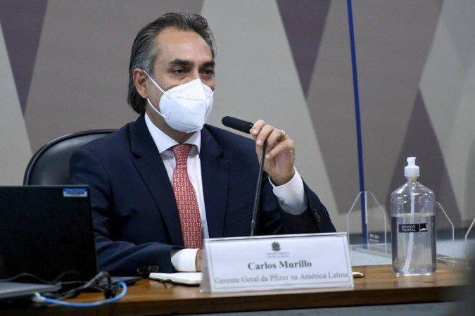 Carlos Murillo em depoimento a CPI Covid (Foto: Edilson Rodrigues/ Agência Senado)