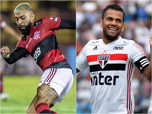 Gabigol do Flamengo e Daniel Alves do São Paulo estão de volta (Foto: Marcelo Cortes e Bruno Ulivieri/AGIF )