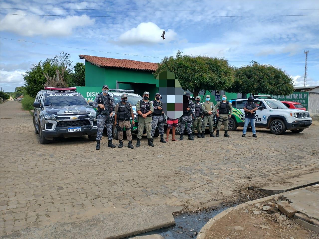 Polícia Militar intensificou rondas e realizou a prisão do acusado em São Gonçalo do Piauí - Foto: Divulgação/PM