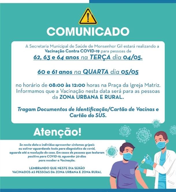 Em Monsenhor Gil, prefeitura convoca para nova etapa da vacinação - Imagem 1