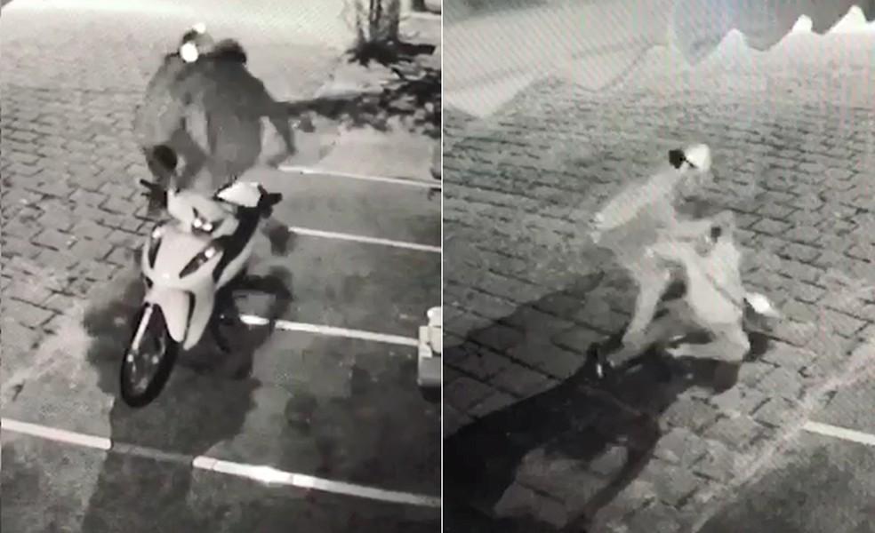Vítima chegava de moto no trabalho quando foi surpreendida pelo agressor - Foto: Reprodução