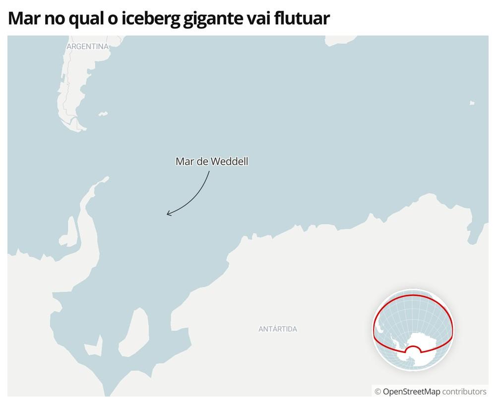 Mapa mostra a localização do Mar de Weddell, na Antártica — Foto: G1