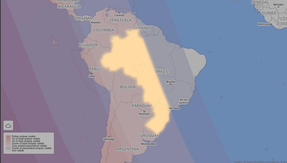 Em amarelo, áreas do Brasil que poderão observar o eclipse, na fase parcial, ao final da madrugada de 26 de maio – Fonte: timeanddate.com