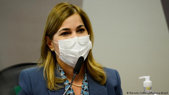"""""""Capitã cloroquina"""" Mayra Pinheiro durante reunião da CPI da Pandemia - Foto: Agência Brasil"""