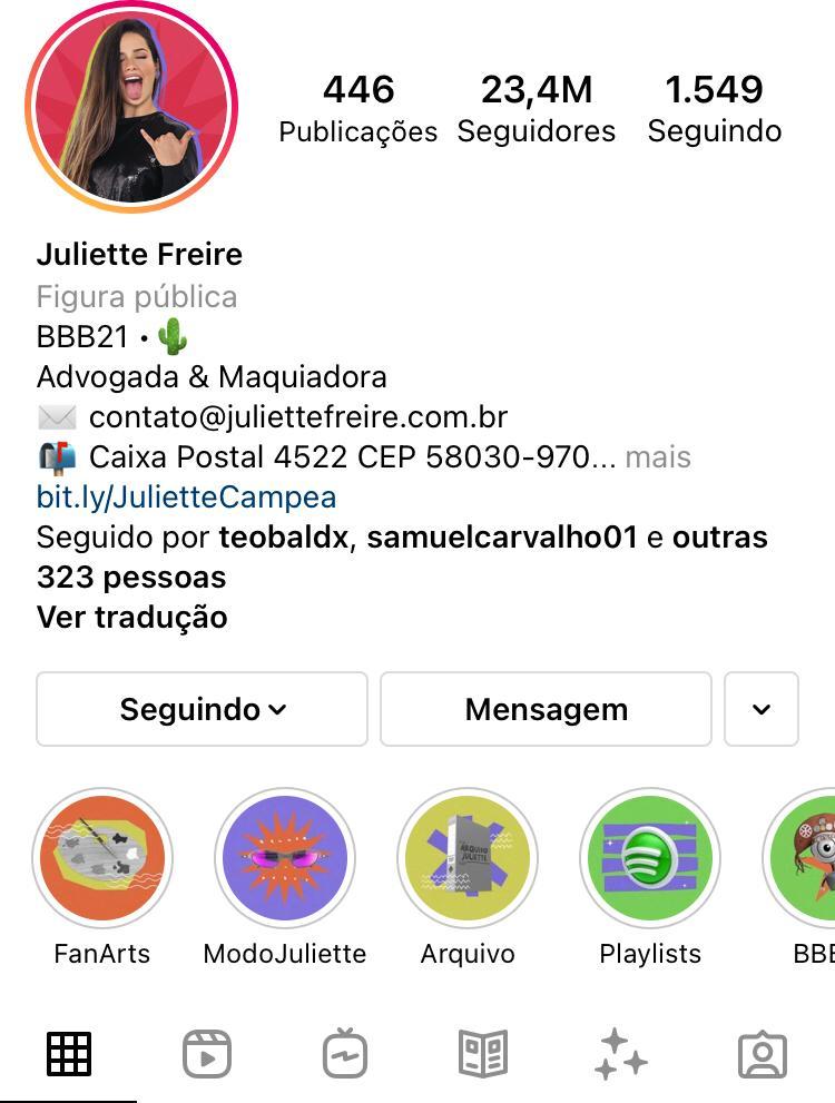 Juliette se torna a segunda BBB mais seguida do Instagram