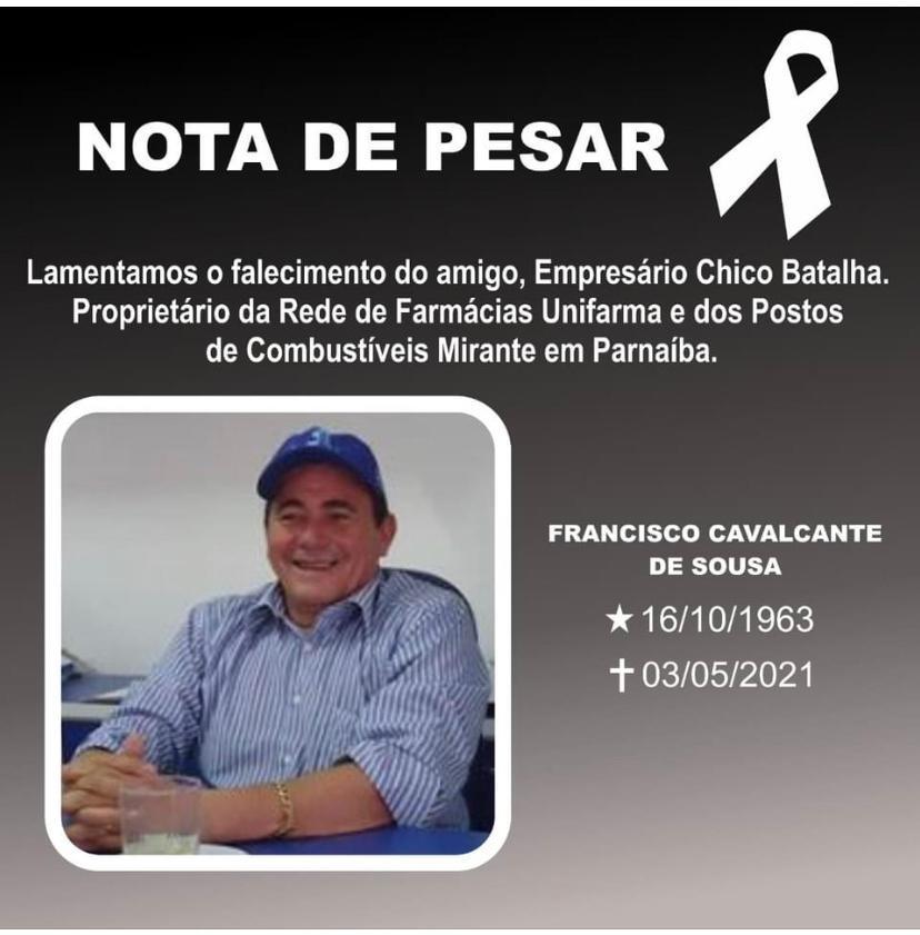 Empresário Chico Batalha morre por complicações da Covid-19 em Teresina (Foto: Reprodução)