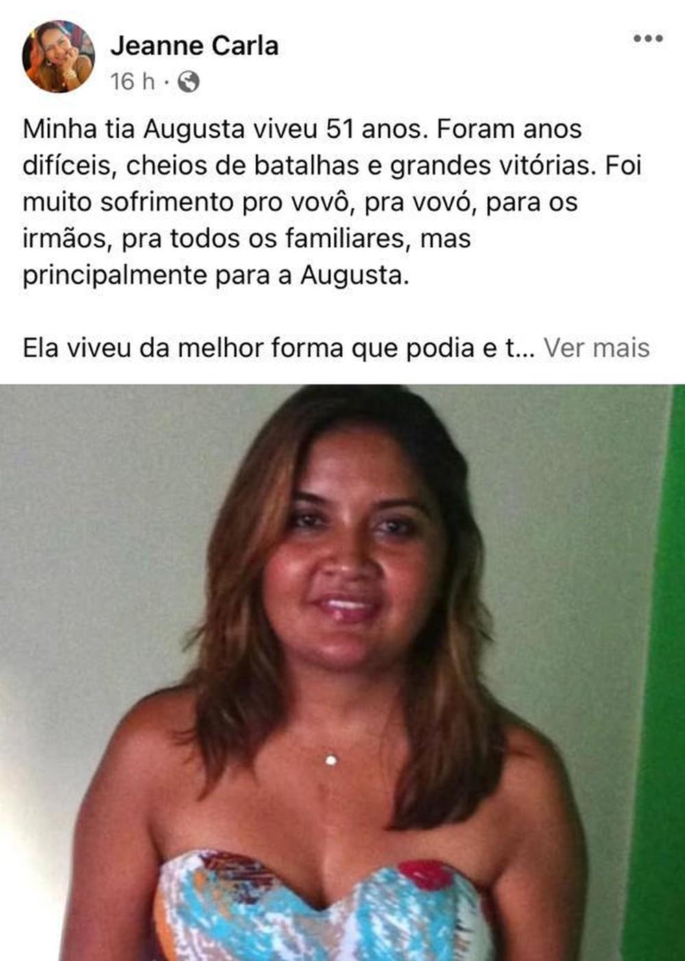 Sobrinha de Augusta Anjos comentou a morte da tia nas redes sociais. Vendedora havia recebido o coração de Eloá Pimentel em 2008, mas morreu em decorrência de complicações da Covid, segundo a família — Foto: Reprodução/Arquivo pessoal