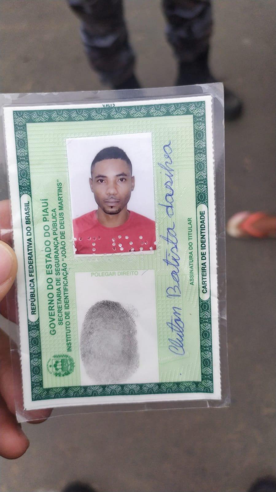 Identificação do suspeito que veio a óbito na zona Sul - Foto: Reprodução