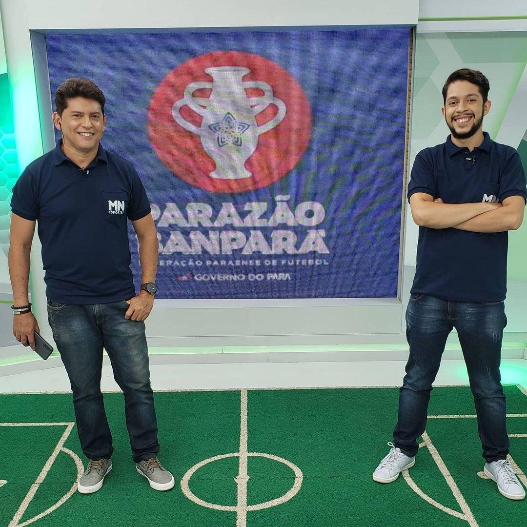 Jornalistas esportivos da Rede Meio Norte durante cobertura do Campeonato Paraense - Foto: Portal MN
