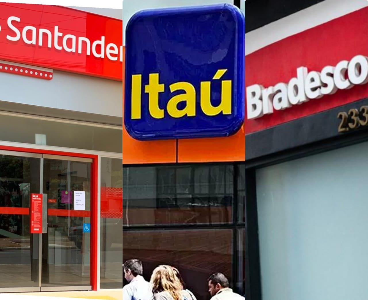 Santander, Itaú e Bradesco lucram mais que em anos de 2019 e 2020- Imagem: Montagem JMN