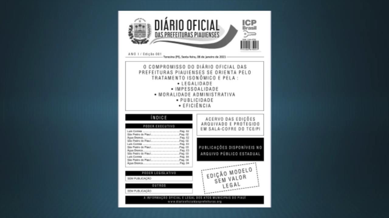 Diário Oficial das Prefeituras Piauienses terá versão imprensa e online. Imagem: Reprodução/Rede Meio Norte