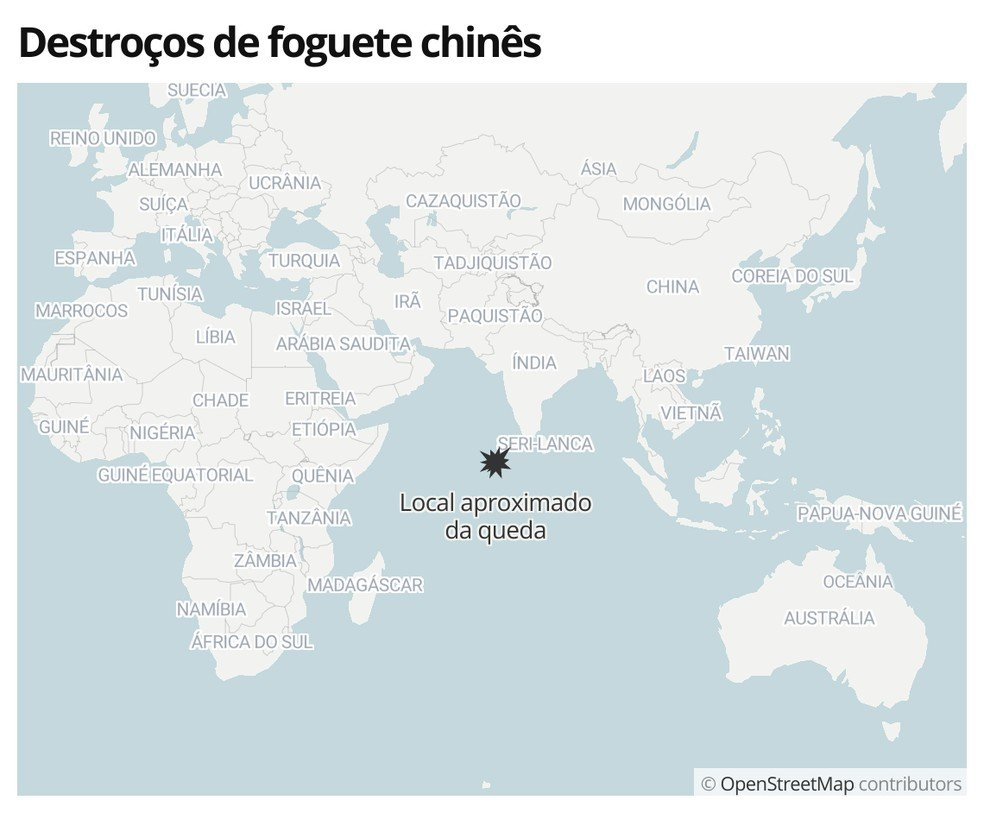 Exato local da queda dos destroços do foguete chinês na madrugada deste domingo (9)- Imagem G1