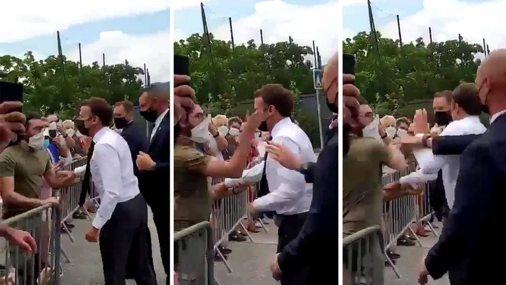 Macron foi agredido com um tapa no momento que ia cumprimentar apoiadores - Foto: Reprodução