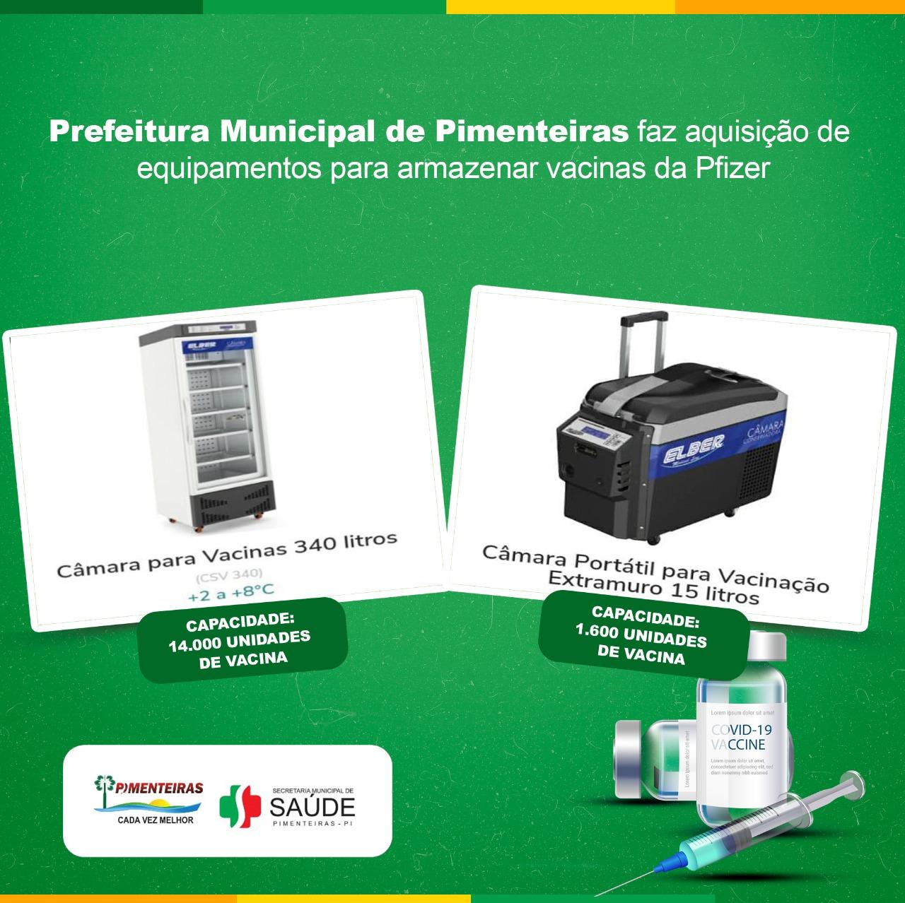 Prefeitura Municipal de Pimenteiras faz aquisição de equipamentos para armazenar vacinas da Pfizer