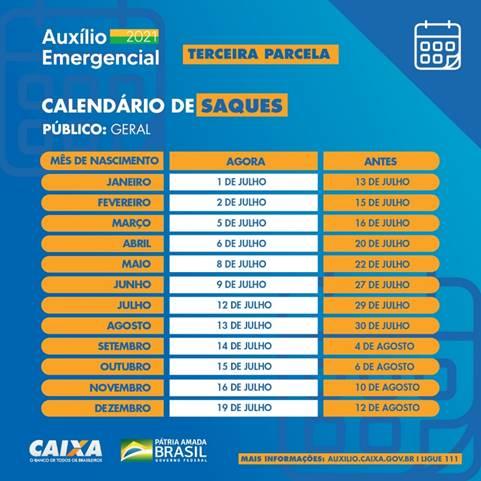 Calendário saques- Fonte: Caixa