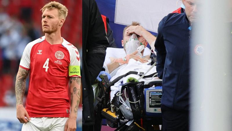 Capitão da Dinamarca nesta Eurocopa, Simon Kjaer (a esquerda) e o jogador Eriksen (a direita)- Foto: FRIEDEMANN VOGEL-AFP-POOL