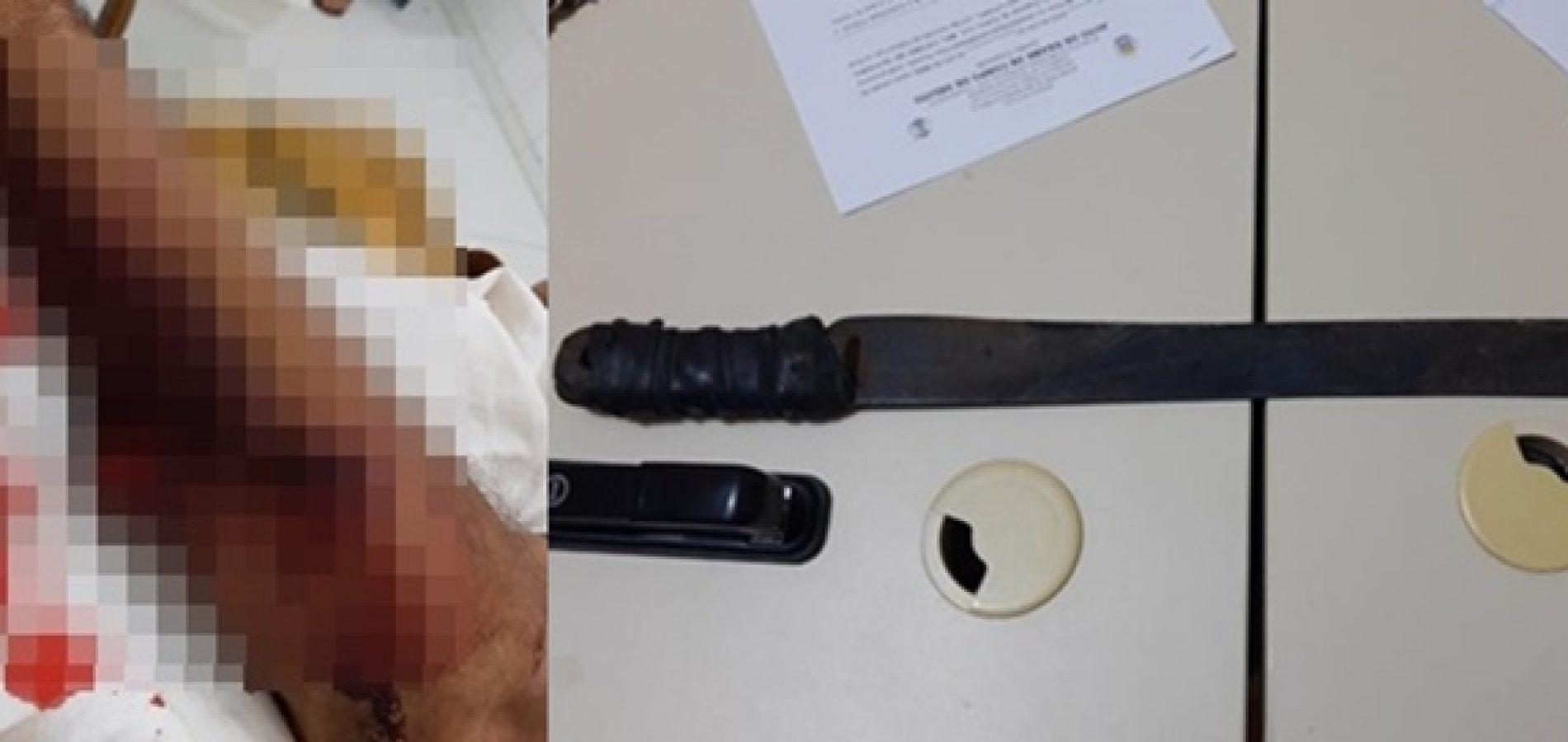 Homem é preso após agredir outro com golpes de facão no Sul do Piauí