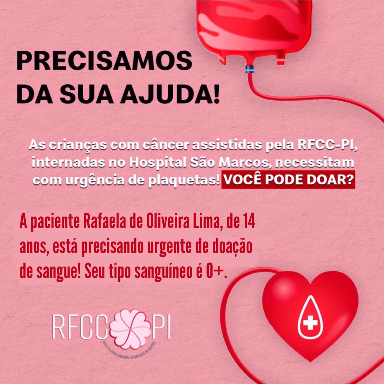 Rede Feminina de Combate ao Câncer (RFCC) apresenta campanha para doação de sangue. Crédito: divulgação.