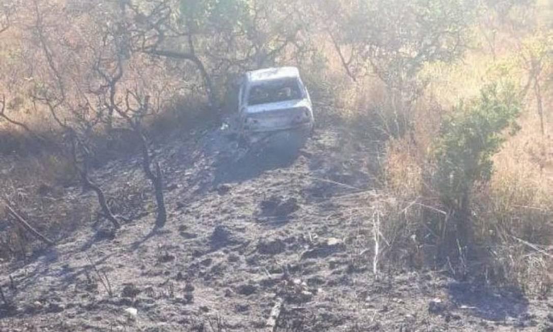 Carro incendiado e encontrado por policiais pode ter sido usado por Lázaro Barbosa Foto: Divulgação