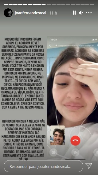 Publicação nos stories de João Fernandes, ex de Mabel (Foto: Reprodução/Instagram)