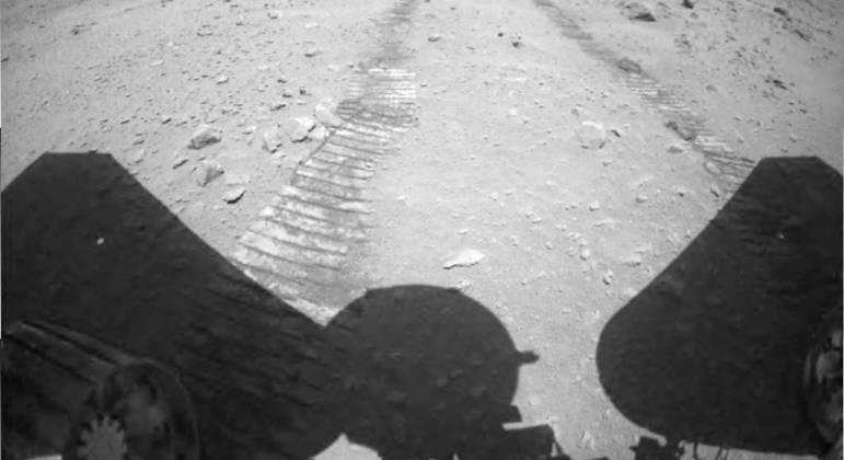 Imagem divulgada da sonda do planeta Marte. (Foto: CNSA)