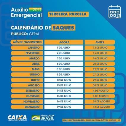 Calendário de pagamento auxílio Caixa- DivulgaçãoCalendário de pagamento auxílio Caixa- Divulgação