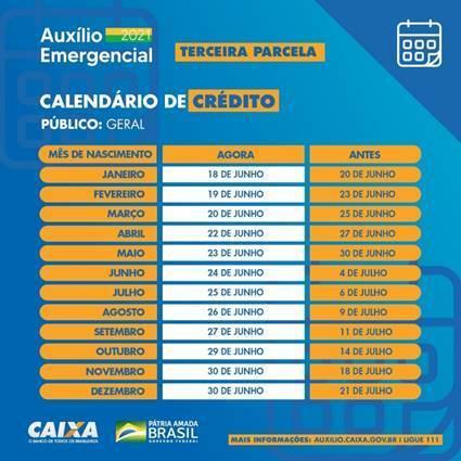 Calendário de pagamento auxílio Caixa- Divulgação