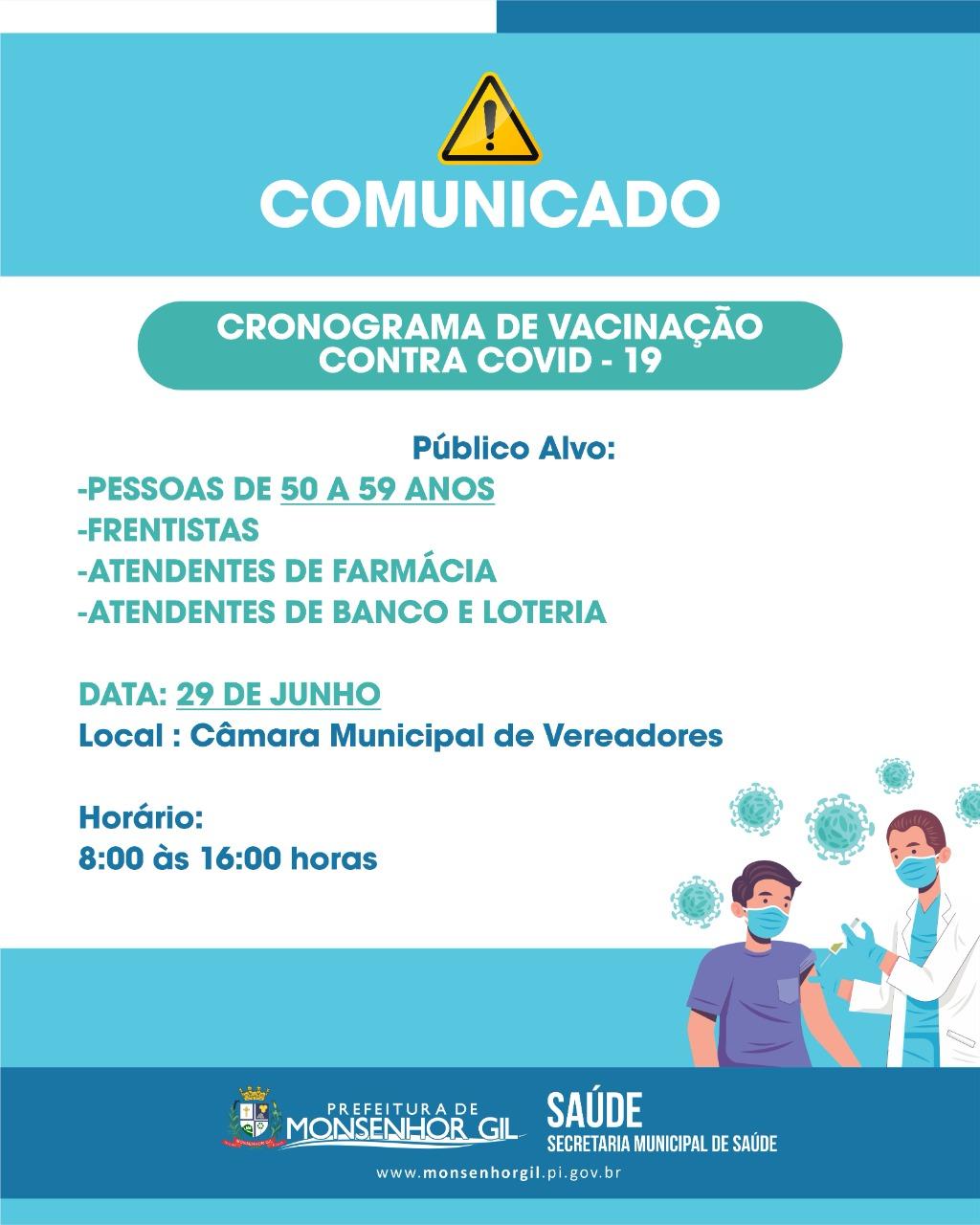 Monsenhor Gil irá vacinar na terça feira de 50 a 59 e algumas categorias - Imagem 1