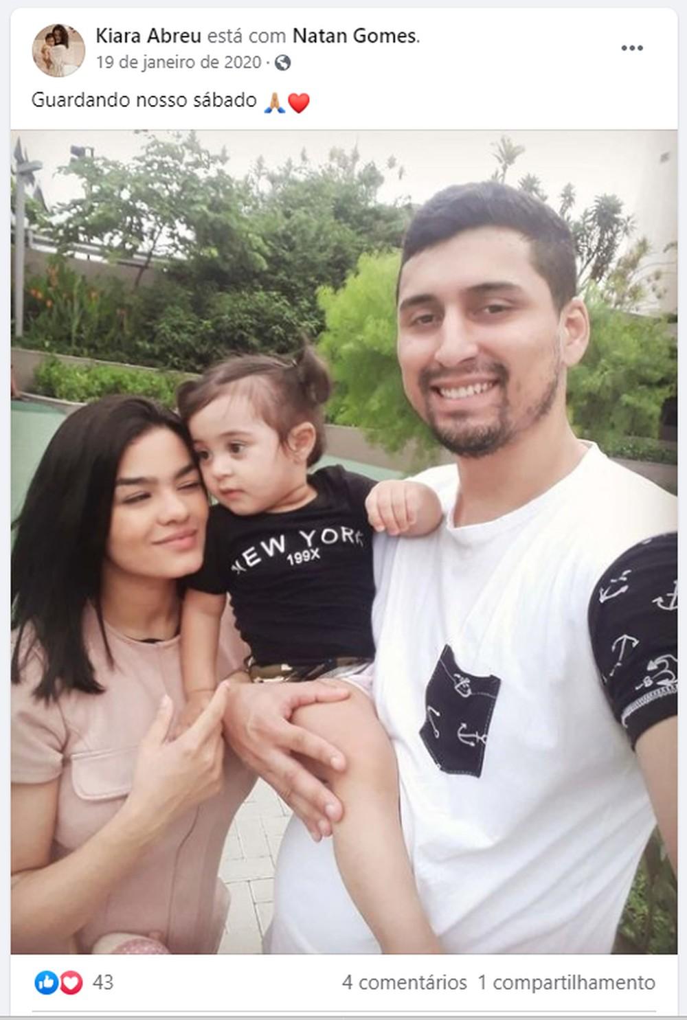 Vítimas do desabamento: Kiara foi resgatada com vida; a pequena Maitê e o pai, Natan, foram encontrados mortos — Foto: Reprodução/Facebook