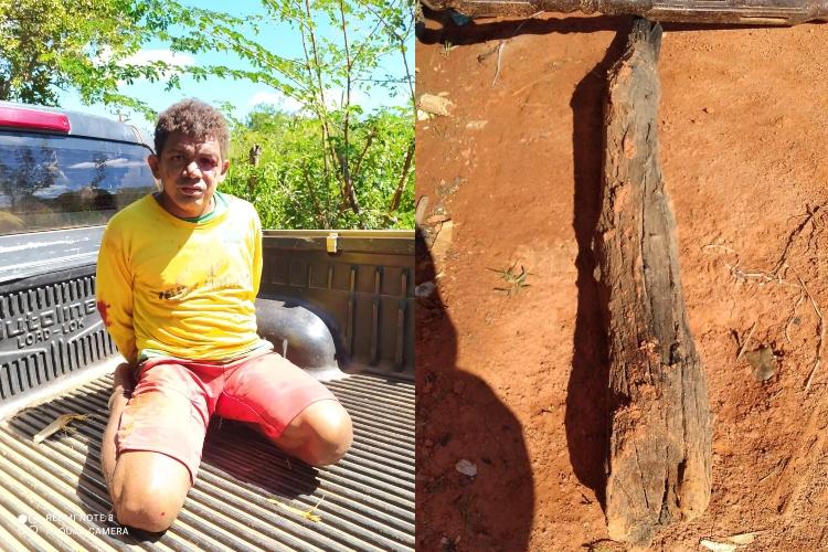 Acusado de matar padrasto é preso em matagal (Foto: Montagem/ Portal Meio Norte)