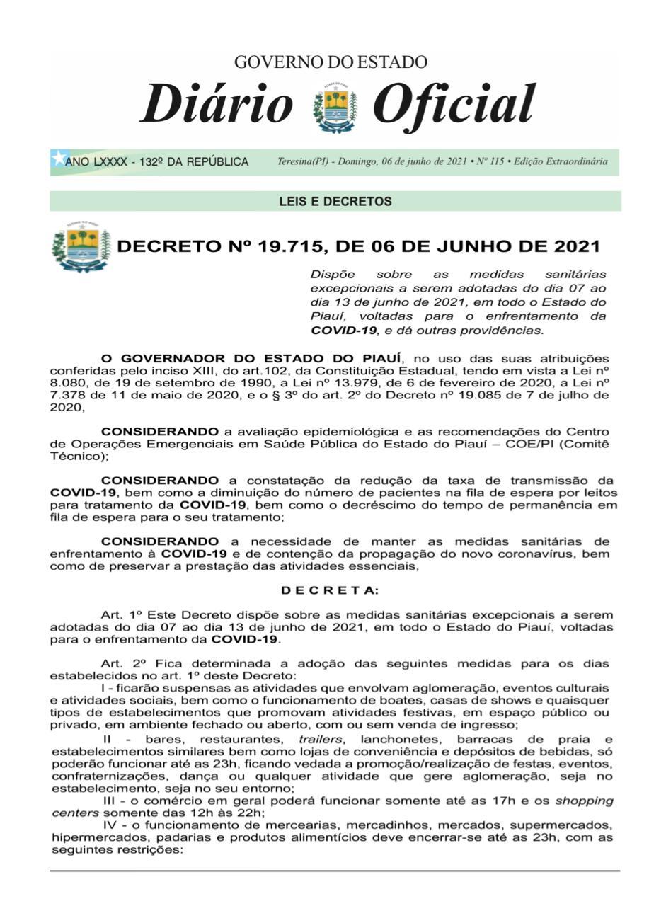 Governo do Piauí prorroga decreto de medidas restritivas até 13 de junho - Imagem 2