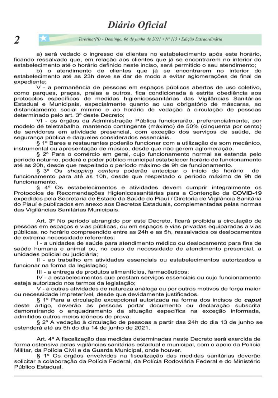 Governo do Piauí prorroga decreto de medidas restritivas até 13 de junho - Imagem 3