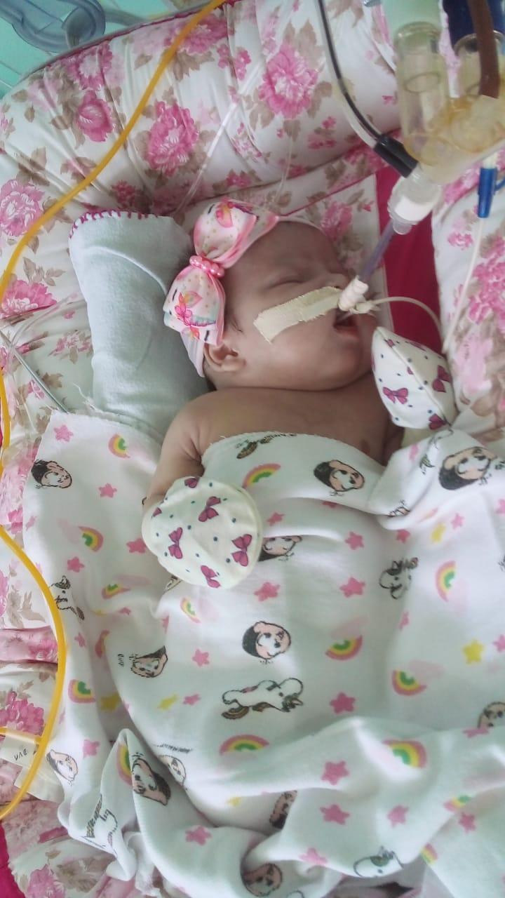 Marya Cleyane, de apenas dois meses de vida, tem um problema que compromete o funcionamento do coração e precisa realizar cirurgia em Recife (PE). Foto: Arquivo pessoal