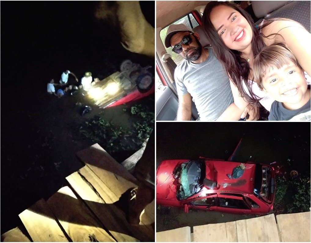 Casal morre e filho sobrevive após carro cair de ponte no Maranhão
