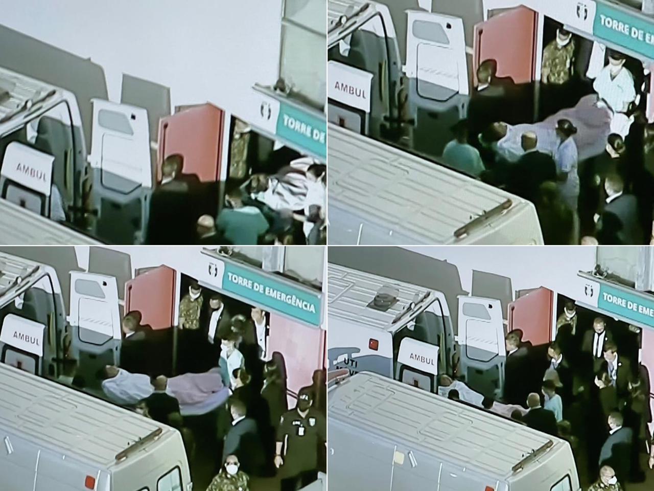 Momento em que Bolsonaro deixa o Hospital das Forças Armadas. Ele segue para São Paulo, onde passará por novos procedimentos. Foto: Reprodução