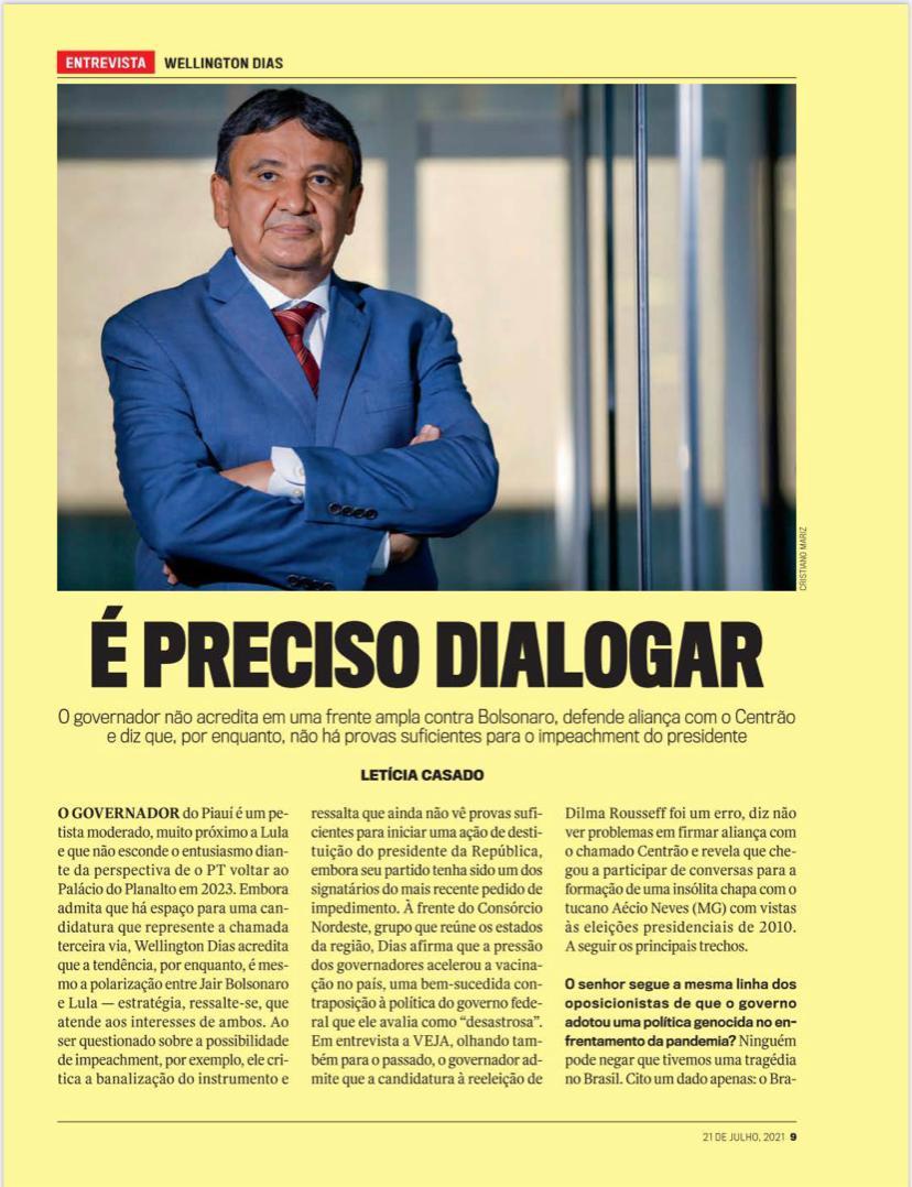 Wellington Dias tem se destacado nacionalmente como um governador atuante - Foto: Reprodução