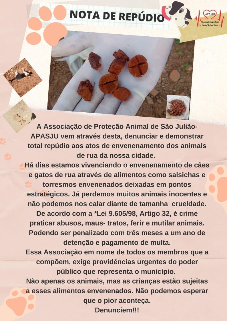 Animais são mortos vítimas de envenenamento no Piauí - Nota APASJU