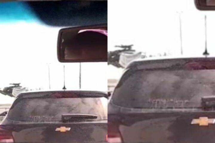 Casal foi flagrada fazendo sexo em carro (Foto: Reprodução)