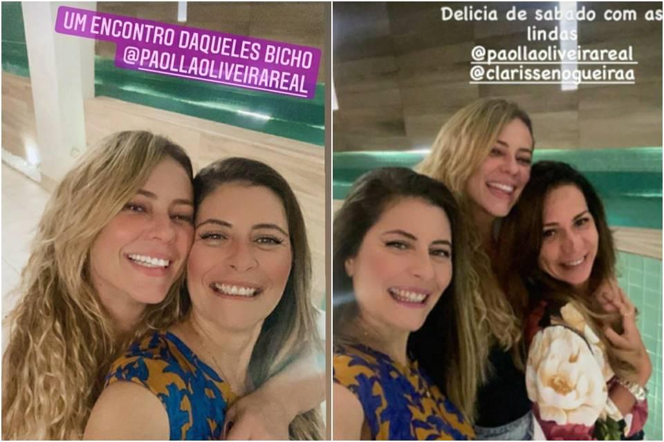 Paola e a cunhada, que foi o cupido entre a atriz e Diogo Nogueira