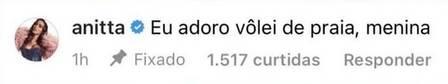 Post de Anitta sobre o jogador Vinicius. (Foto: reprodução)