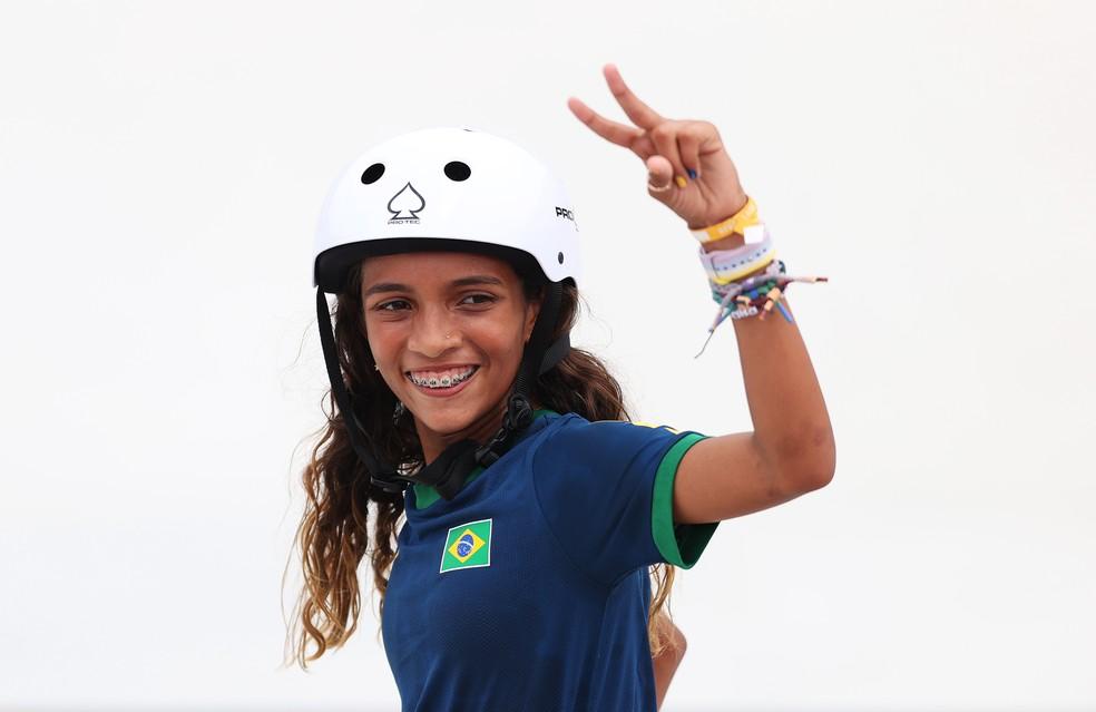Rayssa é a atleta mais jovem da história do Brasil subir ao pódio em Olimpíadas Foto: Ezra Shaw/Getty Images