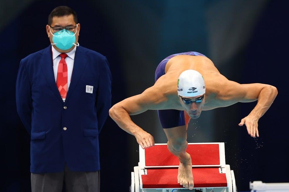 Leonardo de Deus ficou em sexto lugar na final dos 200m borboleta — Foto: Reuters
