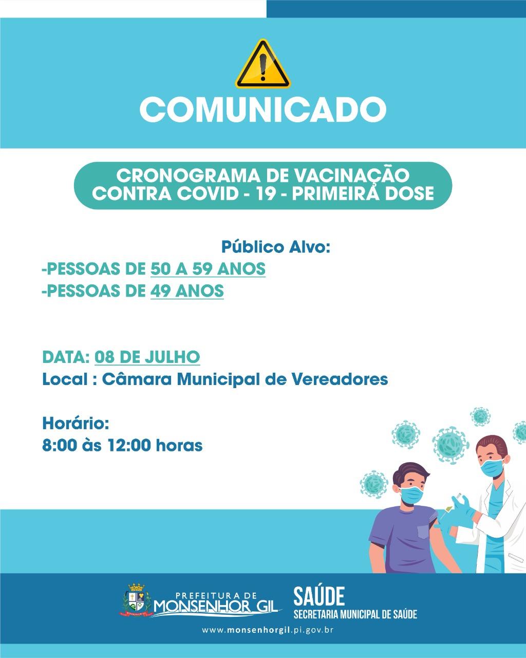 Casos de Covid-19 desacelera e vacinação avança em Monsenhor Gil - Imagem 1