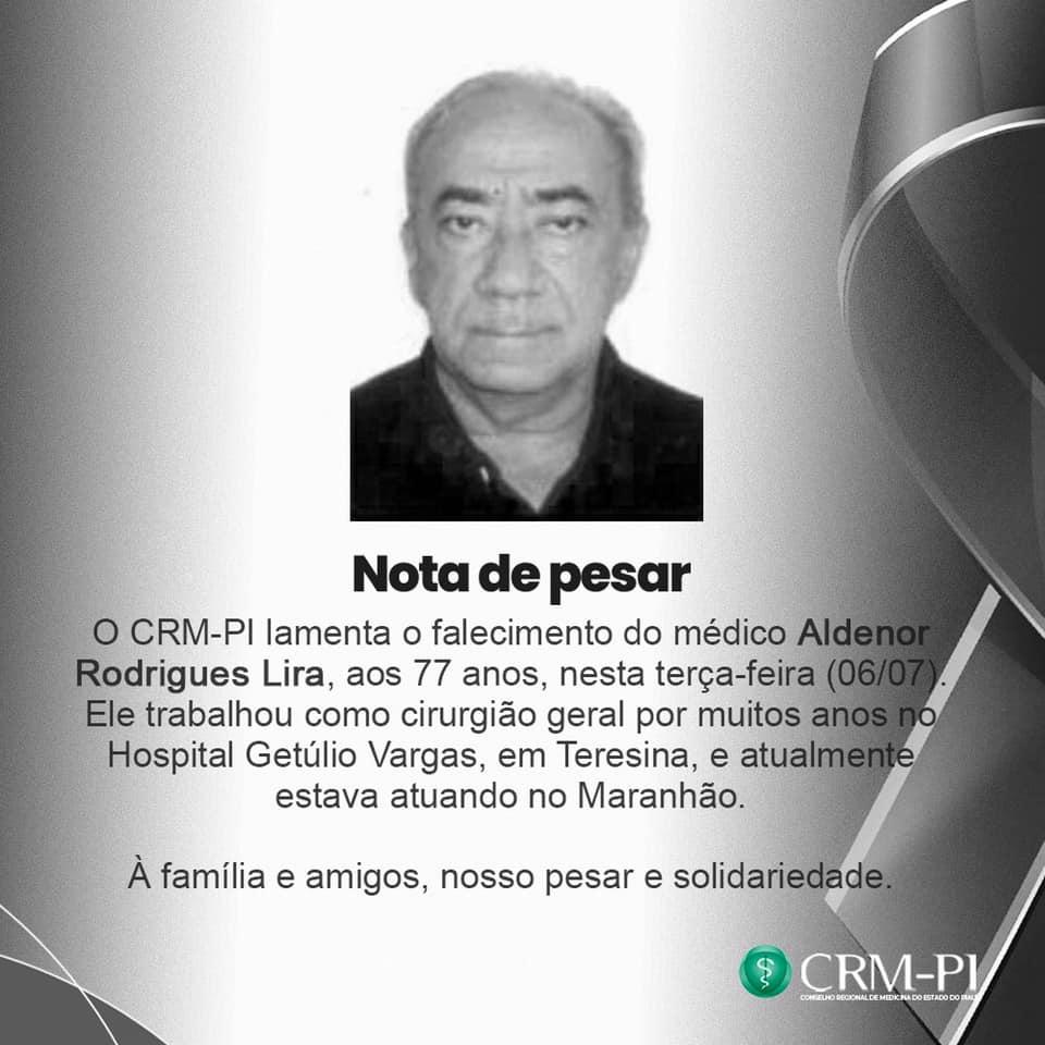 CRM-PI divulga nota de pesar pela morte do profissional (Foto: Reprodução)