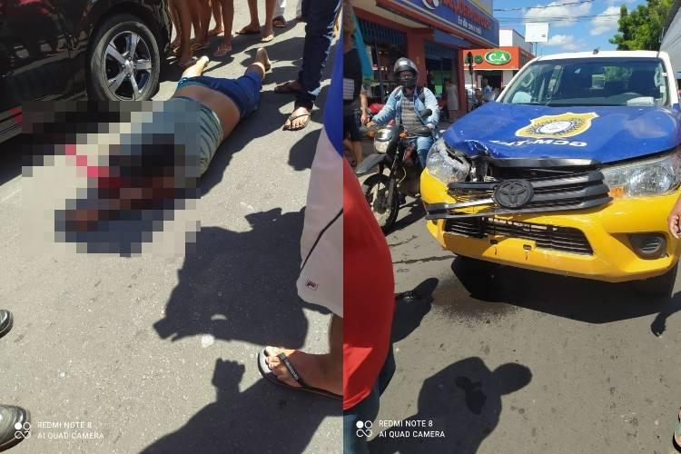 Vítima veio a óbito no local por conta da força do impacto - Crédito: Matheus Oliveira/Portal MN