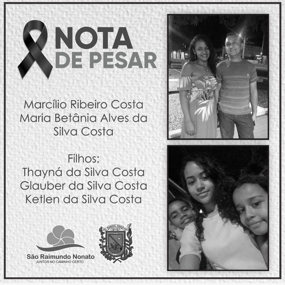 Prefeitura de São Raimundo Nonato divulgou nota de pesar pela morte da família.