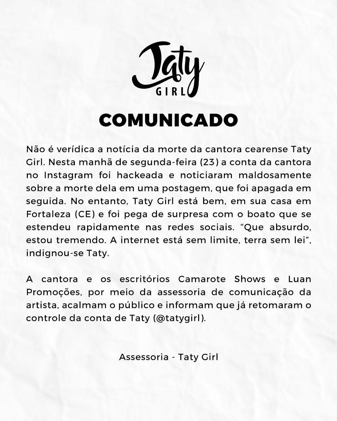 Assessoria da cantora emite comunicado (Foto: Divulgação)