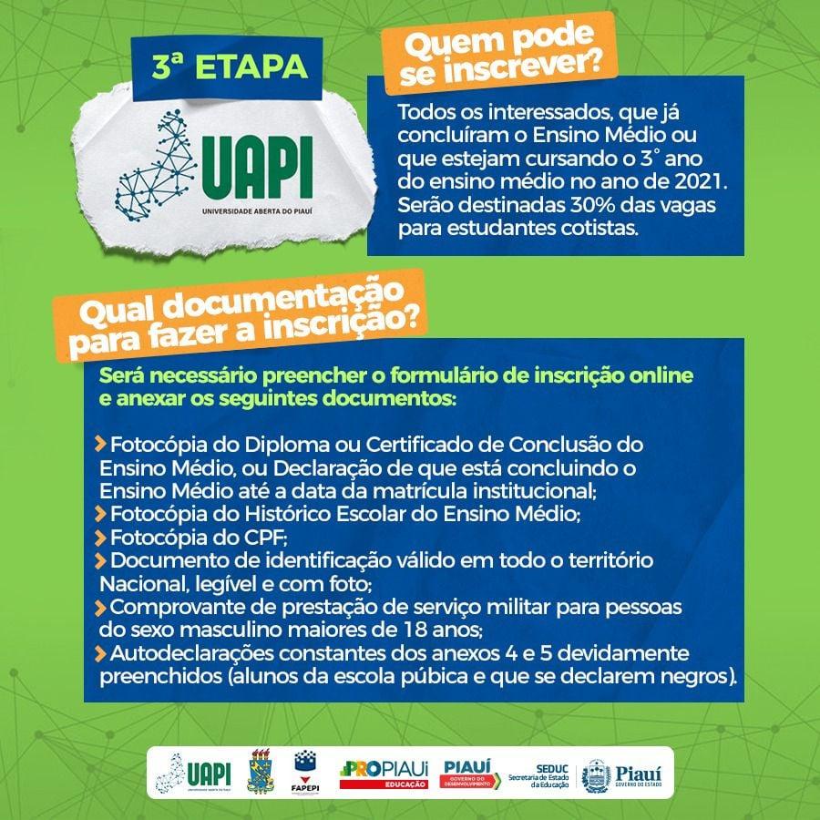 Vestibular: Inscrições abertas para terceira etapa da UAPI - Imagem 2