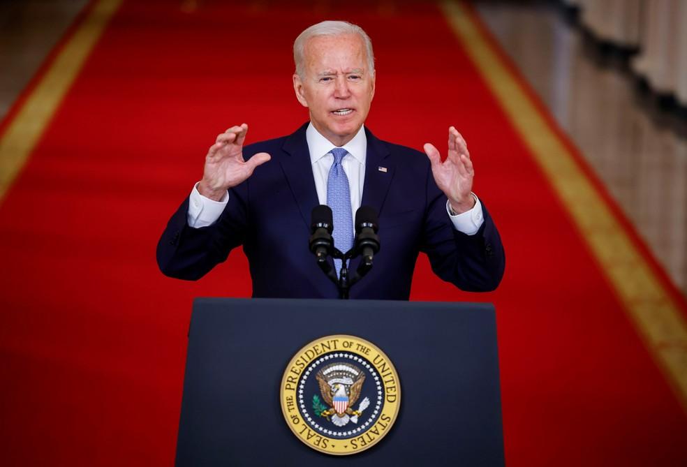 Joe Biden faz pronunciamento após retirada de tropas do Afeganistão Foto: Carlos Barria/Reuters
