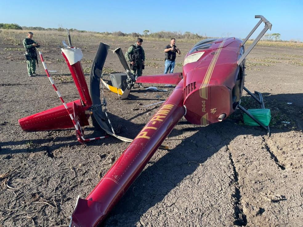 Helicóptero caiu com quase 300 kg de cocaina no Pantanal